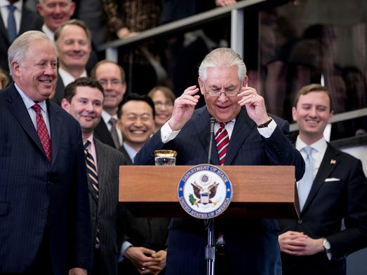 Tillerson, accompanied by State Department Undersecretary
