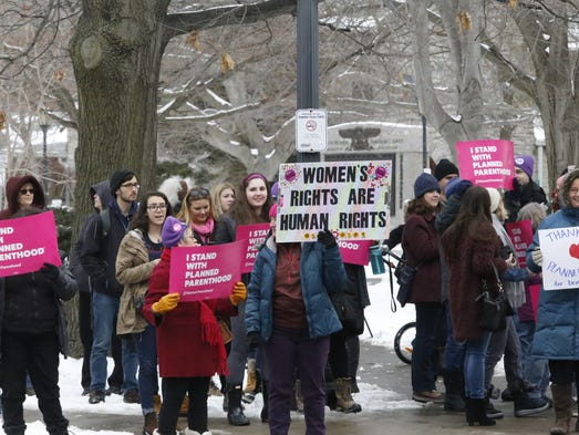 Protesters in support of Planned Parenthood lined up