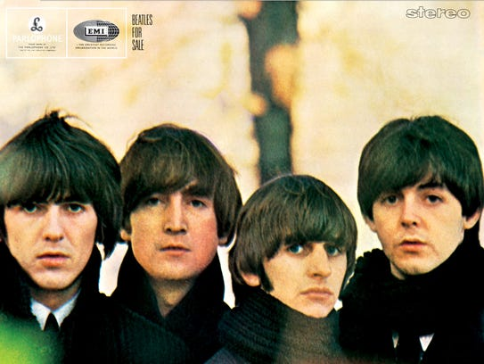 "The cover to the Beatles' 1964 album ""Beatles for Sale."""