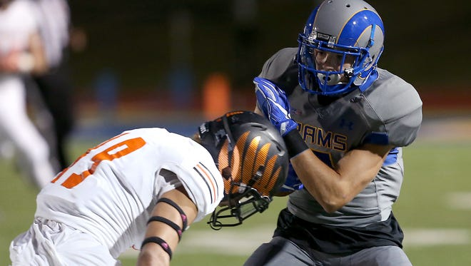 Angelo State's Lawson Ayo is shown against the University of Texas of the Permian Basin last season. Ayo had three receptions for 45 yards and one touchdown in the Rams' 31-21 loss on the road against Eastern New Mexico on Saturday, Sept. 23, 2017.