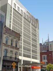 A rendering showing The Bobby hotel signage in front