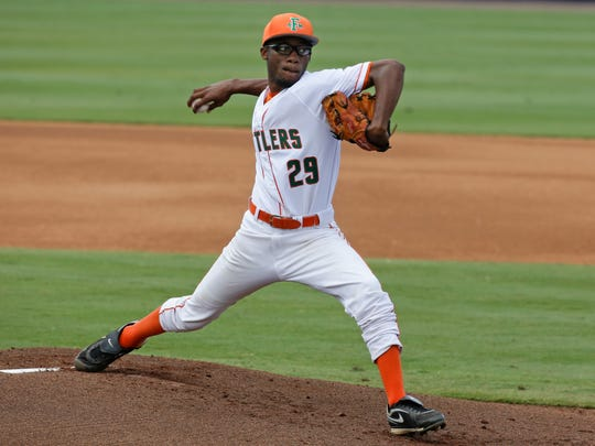 FAMU pitcher Ryan Anderson throws against Florida Atlantic during the first inning of Saturday's regional game.