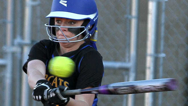 Bloomfield's Daysha Smith gets a hit during a game against San Juan, Utah, on March 11 at the Bloomfield Softball Complex.