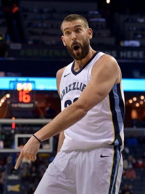 Memphis Grizzlies center Marc Gasol reacts during the first half of the team's NBA basketball game against the San Antonio Spurs on Friday, Dec. 1, 2017, in Memphis, Tenn. (AP Photo/Brandon Dill)