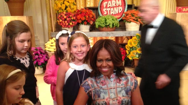 Julia Pascoe, 8, has lunch at the White House with first lady Michelle Obama.