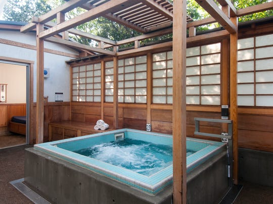 The Shoji hot tub, influenced by traditional Japanese design, at Ten Thousand Waves in Santa Fe, New Mexico.
