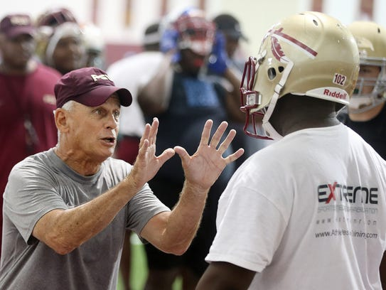 Florida State offensive line coach Rick Trickett is