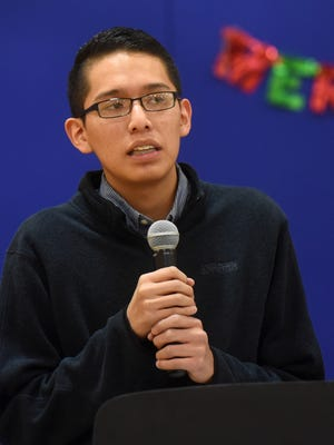 Triston Black, a senior and student body president at Navajo Prepatory School, speaks during a gathering promoting the Navajo Nation Youth Council on Tuesday at the Shiprock Youth Complex.