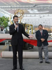 Emmy host Jimmy Kimmel, left, and his late-night sidekick Guillermo Rodriguez appear at the red carpet rollout for the 68th Emmy Awards at Microsoft Theater in Los Angeles.