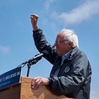 Democratic presidential candidate Sen. Bernie Sanders, I-Vt., salutes at a campaign rally at the Los Angeles Maritime Museum in San Pedro district of Los Angeles Friday, May 27, 2016.