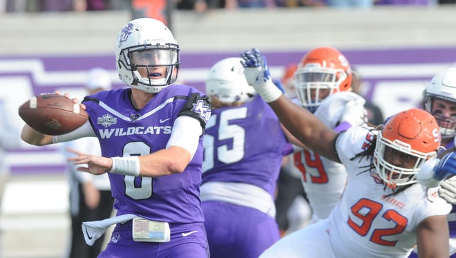 ACU quarterback Luke Anthony (6) looks to throw the ball while pressured by the Sam Houston defense. Anthony threw  for 297 yards, five TDs and four interceptions in a 44-35 loss against the No. 4 Bearkats on Saturday, Nov. 11, 2017 at Wildcat Stadium.