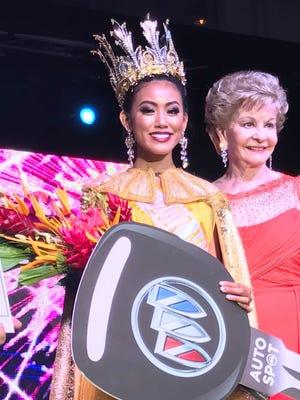 Destiny Cruz with Del. Madeleine Bordallo after Cruz was crowned Miss World Guam Tuesday night.