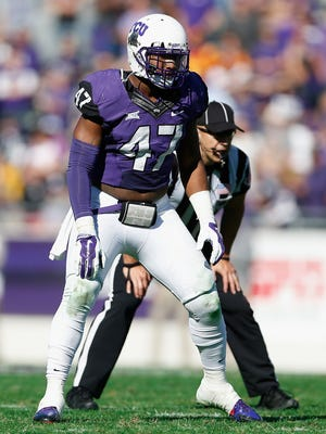 TCU linebacker Paul Dawson lines up against Iowa State during a December game in Fort Worth, Texas.
