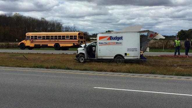 A rental van and school bus were among the vehicles in a crash on I-70 in Hendricks County on Friday.