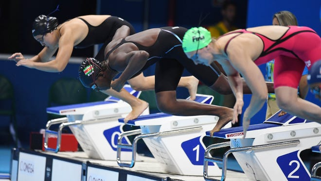 FGCU's Evita Leter of Suriname during the women's 100m breaststroke heats in the Rio 2016 Summer Olympic Games at Olympic Aquatics Stadium on Sunday, Aug. 7, 2016, in Rio de Janeiro, Brazil.