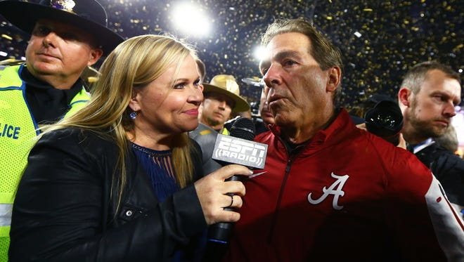 Holly Rowe interviews Nick Saban after the 2016 national championship game.