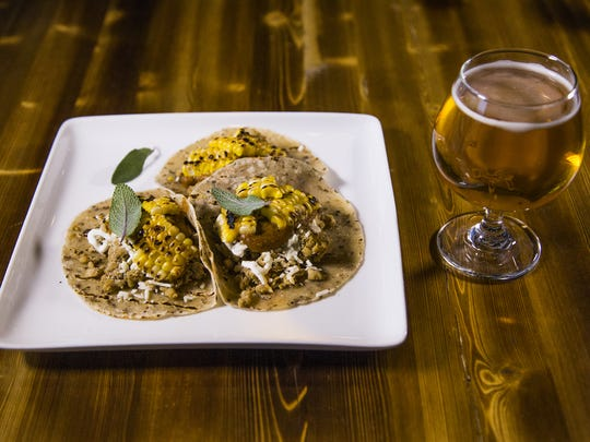Rabbit sausage tacos at Helio Basin Brewing Co. in Phoenix, Thursday, May 31, 2018.