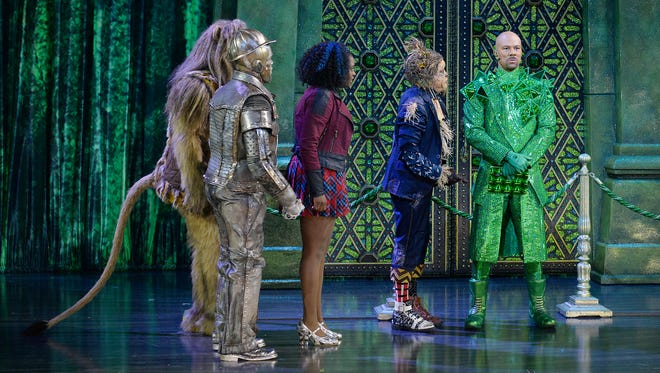 """David Alan Grier as Lion, from left, Shanice Williams as Dorothy, Elijah Kelley as Scarecrow and Common as The Bouncer rehearse for """"The Wiz Live!' in New York."""