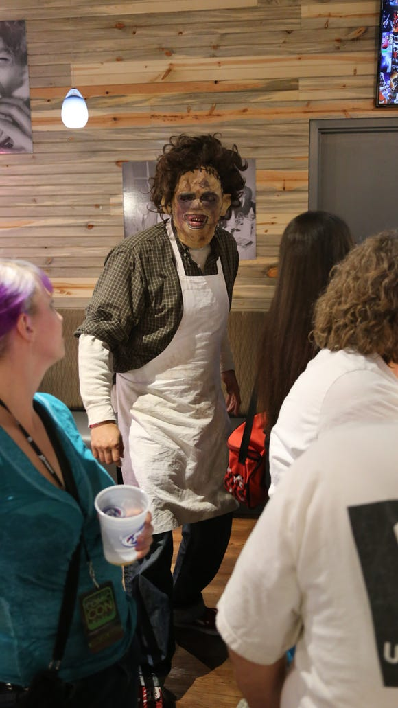 A.J. Brown dresses as his signature character, Leatherface, at a recent Rocky Point Haunted House reunion.