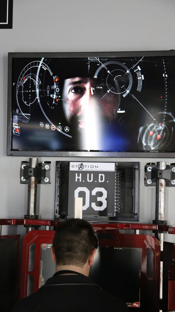 Guests can experience Iron Man's Heads Up Display, or HUD, at Marvel's Avengers S.T.A.T.I.O.N. at Treasure Island in Las Vegas.