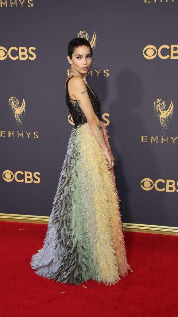 Zoe Kravitz in feathered Dior.