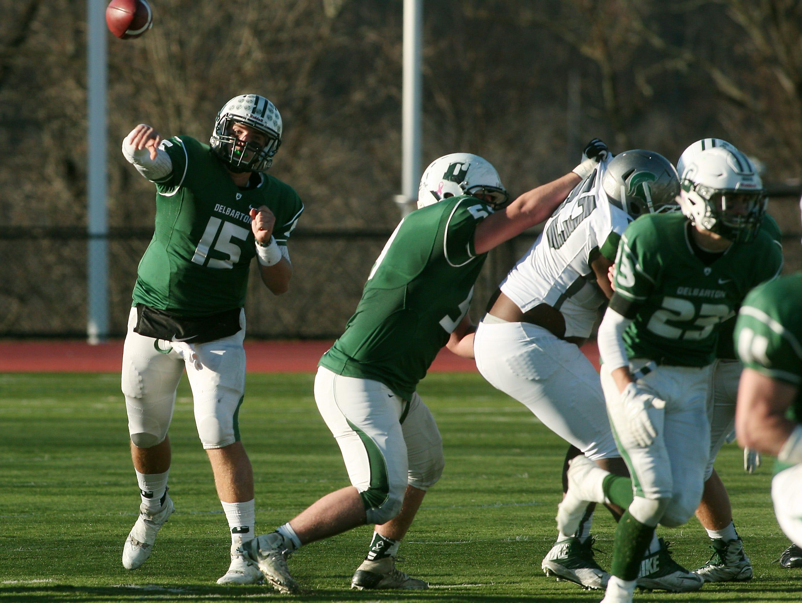 Delbarton quarterback Matt Zebrowski throws vs. DePaul in the NJSIAA Non-Public Group III semifinal. November 21, 2015, Morristown, NJ.
