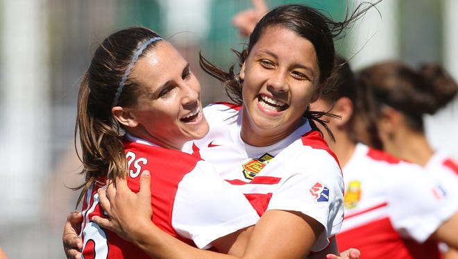 The Flash's Samantha Kerr, right, celebrates a goal last month.