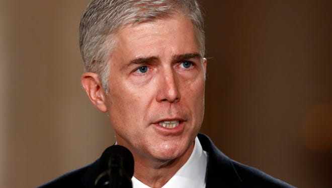 Judge Neil Gorsuch speaks in the East Room of the White House in Washington, Tuesday after President Donald Trump announced Gorsuch as his nominee for the Supreme Court.  (AP Photo/Carolyn Kaster)