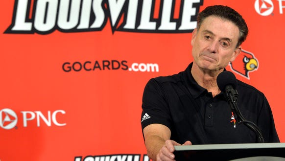 Louisville head coach Rick Pitino responds to a question