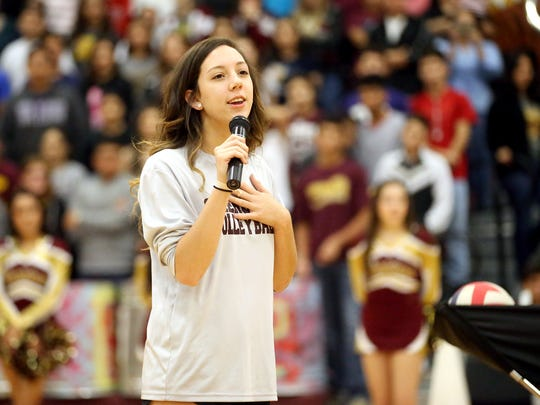 GABE HERNANDEZ/CALLER-TIMES Tuloso-Midway's Jaime Horman talks to her fellow students during the pep rally and sendoff for the volleyball team as they advance to the 5A State Tournament in Garland on Wednesday, Nov. 16, 2016, at Tuloso-Midway High School in Corpus Christi.