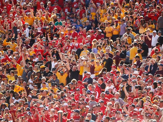 ASU fans watch from the stands during the game against