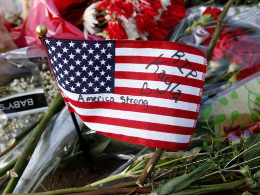 Messages were left on a U.S. flag in honor of Kayla
