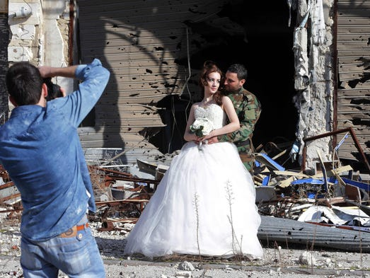 Newly-wed Syrian couple Nada Merhi,18, and Hassan Youssef