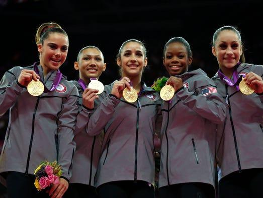 London, 2012 — Gymnasts McKayla Maroney, Kyla Ross,