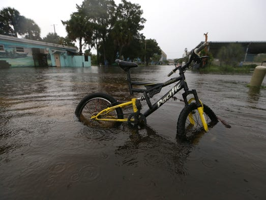 The streets of St. Marks, FL are flooded over ahead