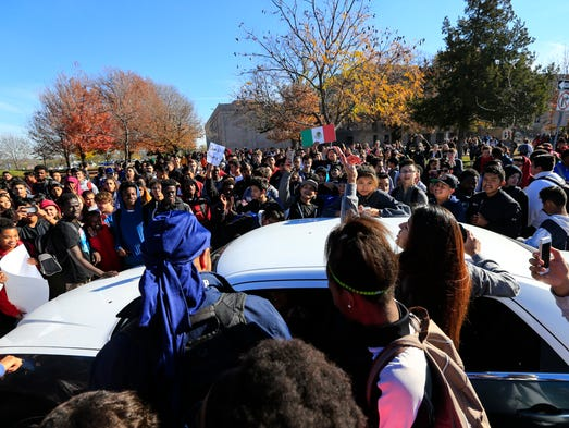 Hundreds of students take part in a walkout at East