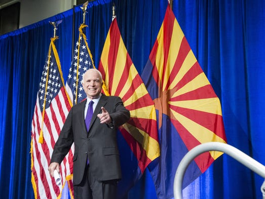 Sen. John McCain gives a victory speech to his supporters