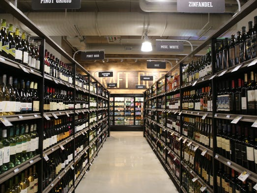 Wine section at the new Des Moines downtown Hy-Vee,