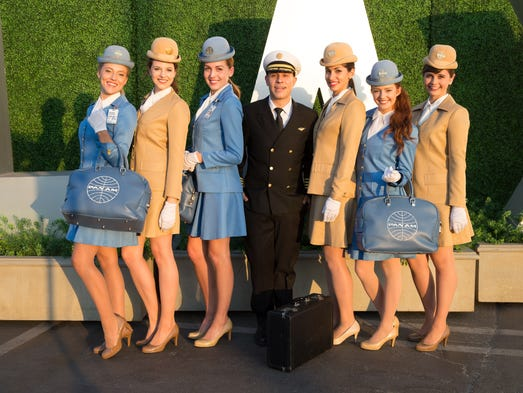 The flight crew prepares to take a gathering of guests
