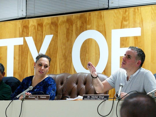 ​From left, Deming City Councilors David Sanchez, Roxana Rincon (recently resigned) and Victor Cruz at a council meeting in 2018. The entire council are currently serving terms for which the councilors ran unopposed. ​