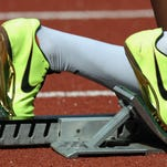 Nike running spikes in the starting blocks(Photo by Tony Marshall/Getty Images)