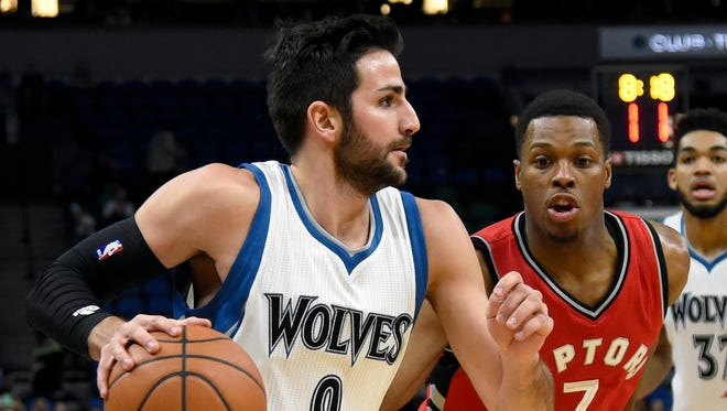 Ricky Rubio, left, averaged 10.3 points and 8.5 assists in six seasons with the Timberwolves.