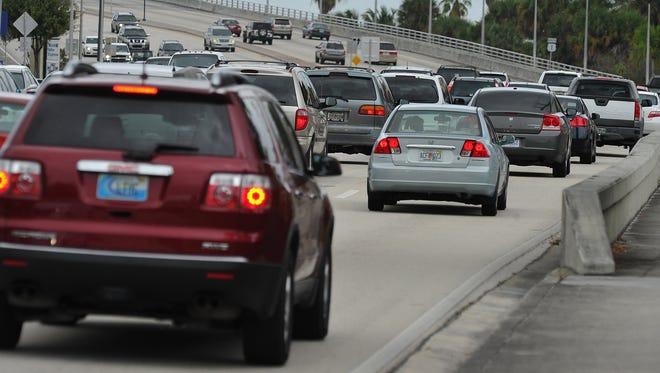 North-bound traffic begins to congest along U.S. 1 approaching the Roosevelt Bridge near Downtown Stuart.