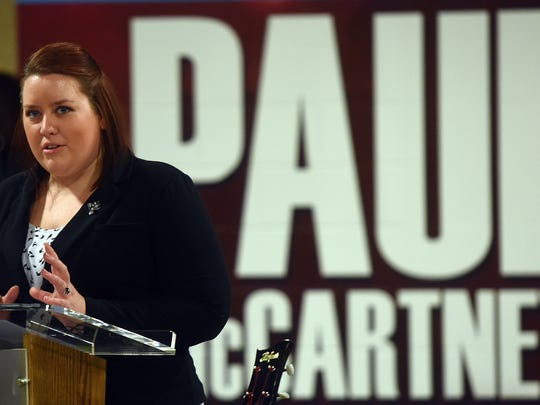 Lucy Albers, marketing manager for the Denny Sanford Premier Center, talks about preparations for Paul McCartney's arrival during a press conference at the Denny Sanford Premier Center on Friday, April 29, 2016.