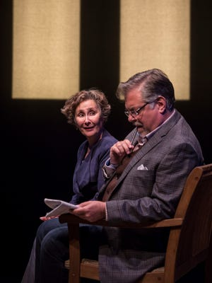 """Sarah Day and Brian Mani portray travelers who meet on a train in Yasmina Reza's """"The Unexpected Man,"""" performed by American Players Theatre in Spring Green."""