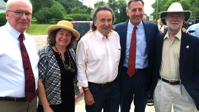 Gov. Peter Shumlin on Monday poses with a tri-partisan clutch of lawmakers who supported the minimum wage bill he was about to sign into the law. The legislation raises the wage four times in the next four years to reach $10.50 an hour in 2018. Joining him for the signing: (from left) Sen. Kevin Mullin, R-Rutland, Rep. Cindy Weed, P/D-Enosburg Falls, Sen. Anthony Pollina, P/D-Washington, and Rep. David Sharpe, D-Lincoln.