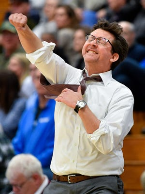 Franklin head coach Darrin Joines reacts in the final moments of the team's victory against Brentwood on Jan. 29, 2018. Starting this summer, Joines will trade in the hardwood to become the Williamson County Schools athletic director.