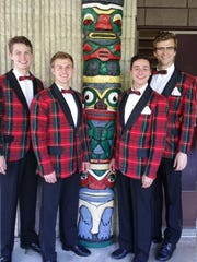 "Left to right, Derek Kastner, Louis Griffin, Stavros Koumbaros, and Gabe Wrobel, star in Totem Pole Playhouse's all-new production of the hit Off-Broadway musical ""Forever Plaid"" featuring hit songs of the 1950s."