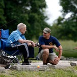 Twelve World War II veterans from Culpepper Place, an assisted living facility at Chesterfield Village, were treated to a fishing trip Thursday at the Bois D'Arc Aquatic Resource Education Pond. Navy recruiting officers were on hand to assist the veterans.