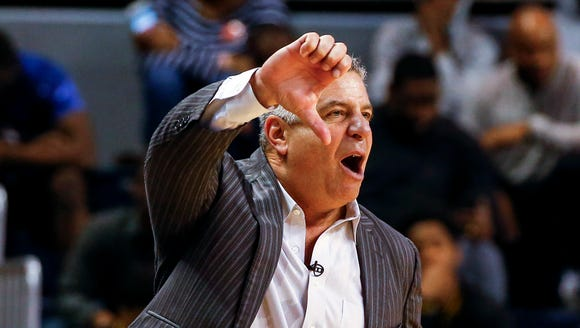 Auburn coach Bruce Pearl reacts to a call during the